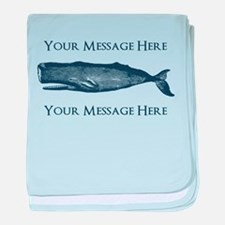 PERSONALIZED Vintage Whale baby blanket