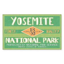 Yosemite National Park (Retro) Sticker (Rectangula