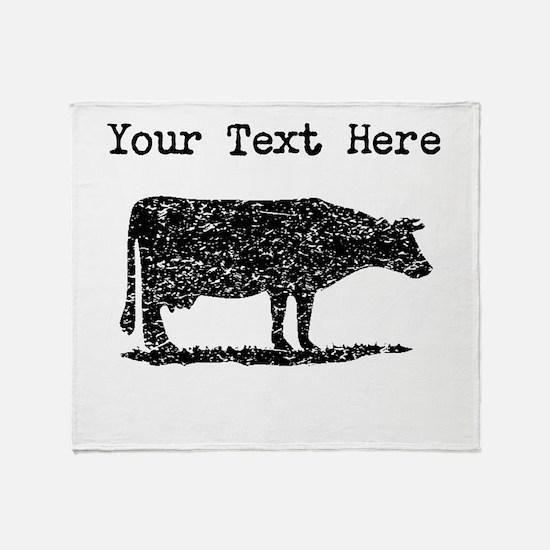 Distressed Cow Silhouette (Custom) Throw Blanket