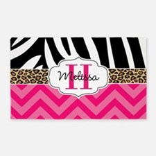 Zebra Cheetah Hot Pink Chevron Area Rug