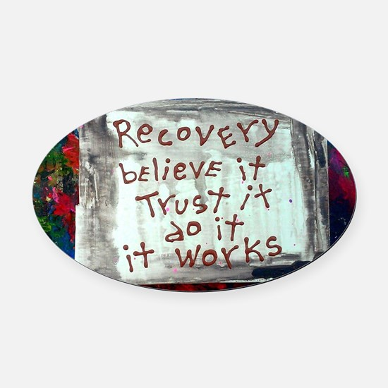 recovery inspirations Oval Car Magnet