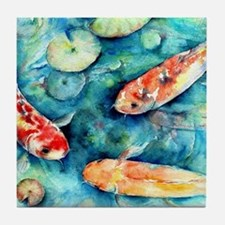 Watercolor Koi in Lily Pond Tile Coaster