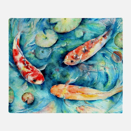 Watercolor Koi in Lily Pond Throw Blanket