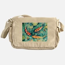 Watercolor Koi in Lily Pond Messenger Bag
