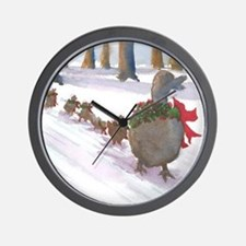 Boston Common Ducks at Christmas Wall Clock