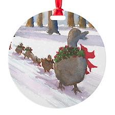 Boston Common Ducks at Christmas Round Ornament
