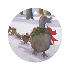 Boston Common Ducks at Christmas Ornament (Round)