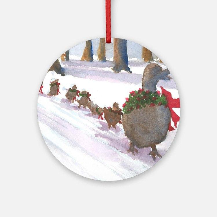 Boston Common Ducks at Christmas Ornament (Round)