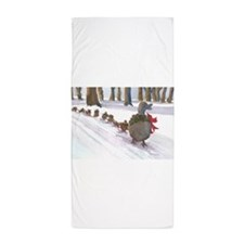 Boston Common Ducks at Christmas Beach Towel