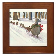 Boston Common Ducks at Christmas Framed Tile