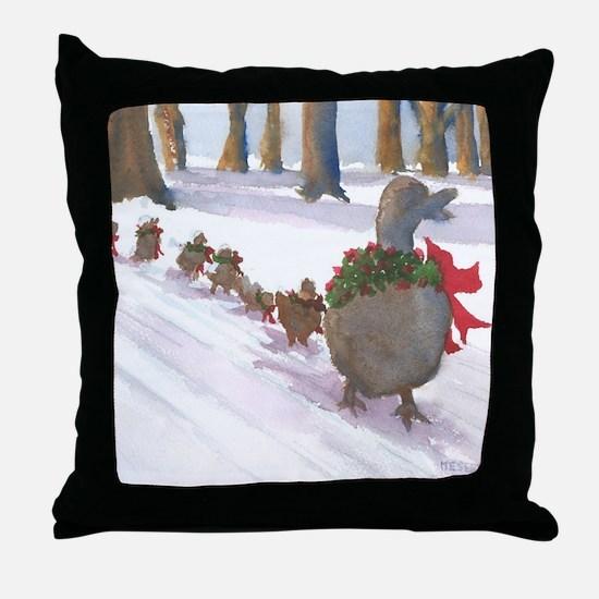 Boston Common Ducks at Christmas Throw Pillow