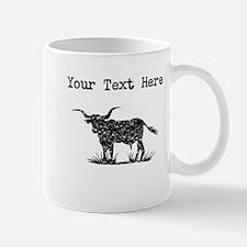Distressed Longhorn Bull Silhouette (Custom) Mugs