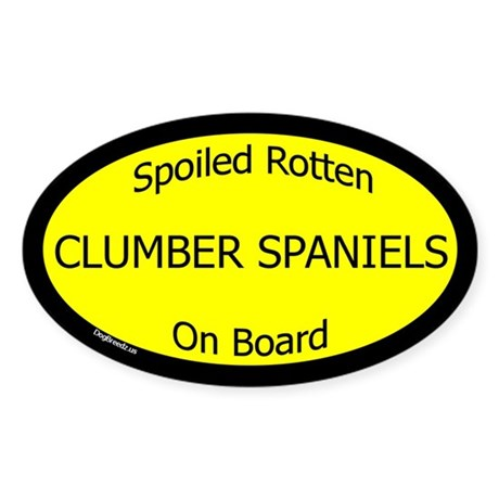 Spoiled Clumber Spaniels On Board Oval Sticker