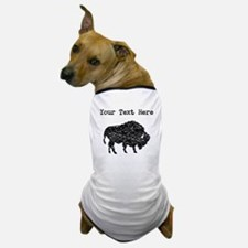 Distressed Bison Silhouette (Custom) Dog T-Shirt