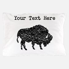Distressed Bison Silhouette (Custom) Pillow Case