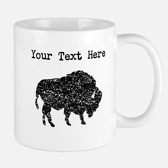Distressed Bison Silhouette (Custom) Mugs