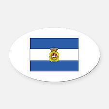 Aviles, Spain Flag Oval Car Magnet