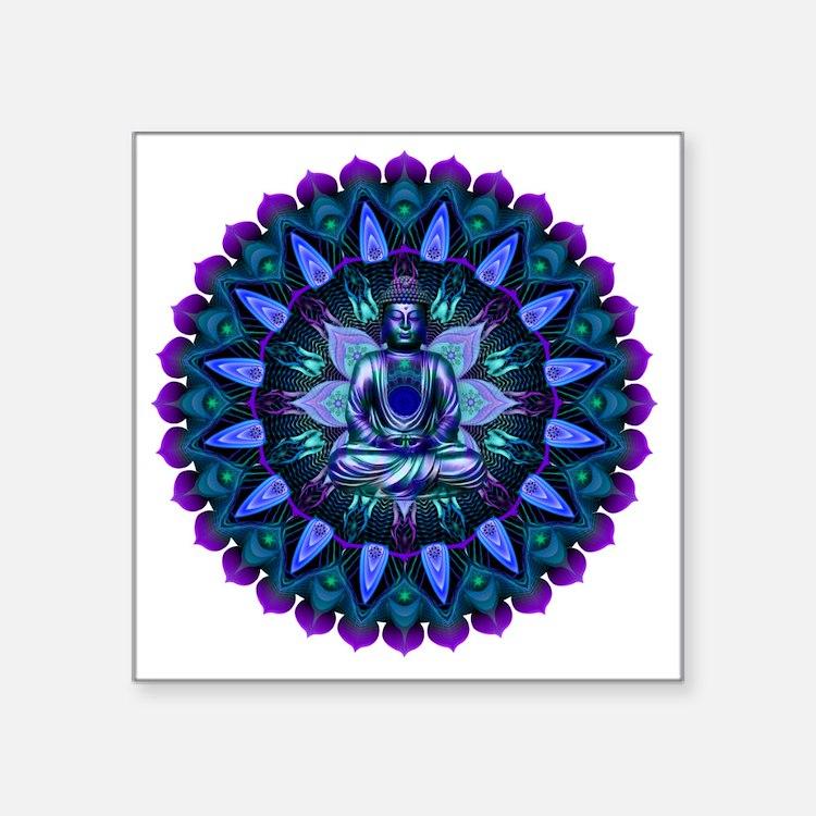 "The Evening Light Buddha Square Sticker 3"" x 3"""