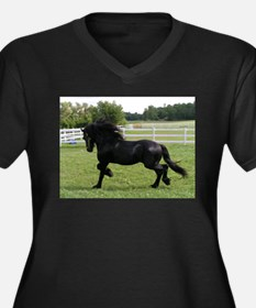 Cute Friesian horse Women's Plus Size V-Neck Dark T-Shirt