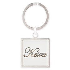 Gold Keira Square Keychain