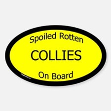 Spoiled Collies On Board Oval Decal
