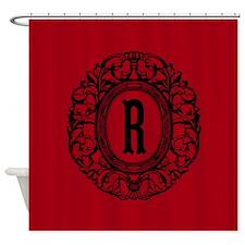 MONOGRAM Vintage Gothic Oval Shower Curtain