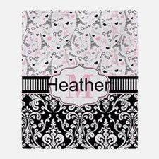 Pink Paris Throw Blanket
