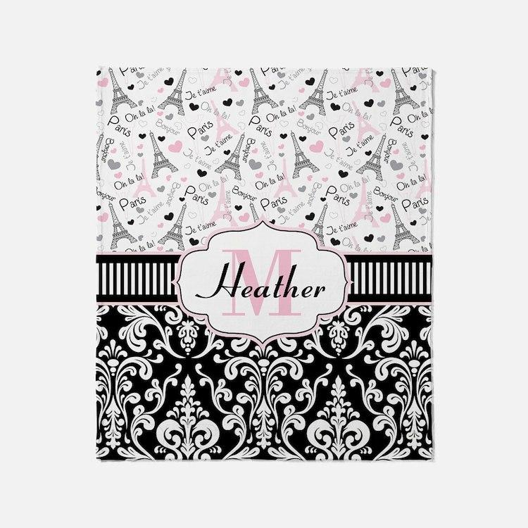 Pink Paris Throw Blanket