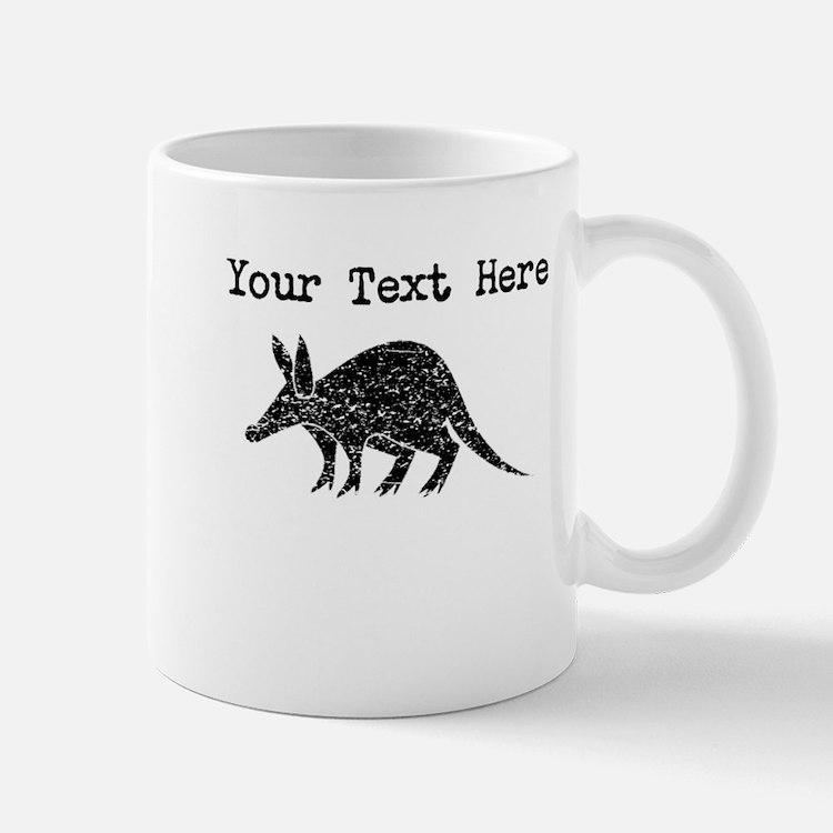 Distressed Aardvark Silhouette (Custom) Mugs
