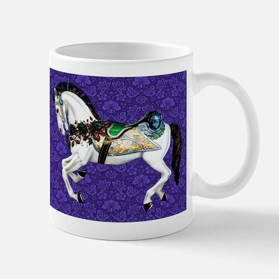 White Carousel Horse on Purple Damask Mugs