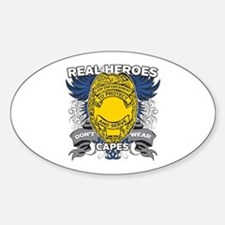 Real Heroes Law Enforcement Sticker (Oval)