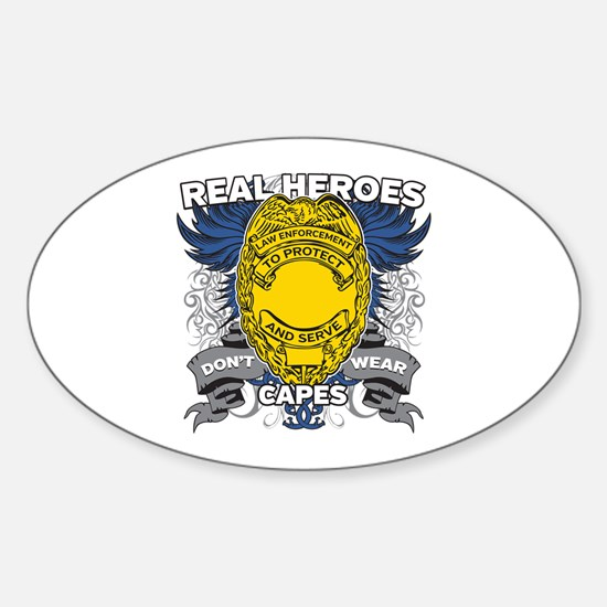 Real Heroes Law Enforcement Sticker (Oval)