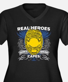Real Heroes Women's Plus Size V-Neck Dark T-Shirt