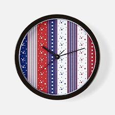 Patriotic Strs & Stripes Abstract Ameri Wall Clock