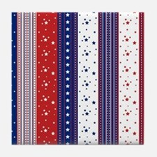 Patriotic Strs & Stripes Abstract Ame Tile Coaster