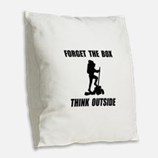Think Outside Burlap Throw Pillow