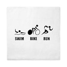 Triathlon Swim Bike Run Queen Duvet