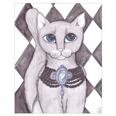Grey Cat art Poster