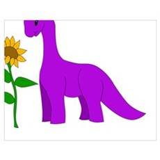 Sauropod and Sunflower Poster