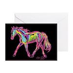Painted Pony black bkgrnd Greeting Cards (20)