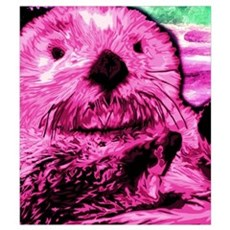 Bright Pink Sea Otter Poster