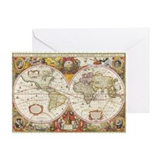 Antique World Map Greeting Card
