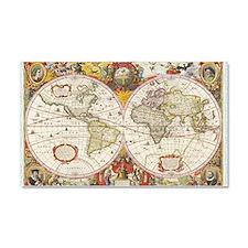 Antique World Map Car Magnet 20 x 12