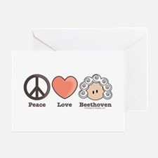 Peace Love Heart Beethoven Blank Greeting Card