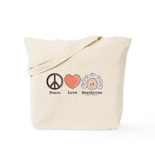 Peace Love Heart Beethoven Tote Bag or Music Bag