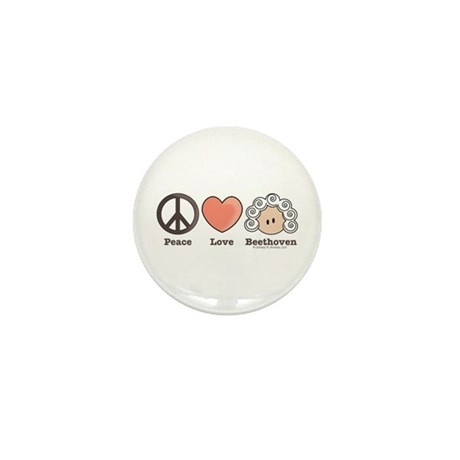 Peace Love Heart Beethoven Mini Button (10 pack)