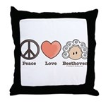 Peace Love Heart Beethoven Music Throw Pillow