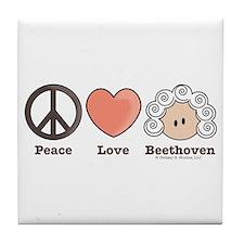 Peace Love Heart Beethoven Music Tile Coaster