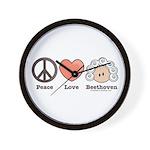 Peace Love Heart Beethoven Music Wall Clock