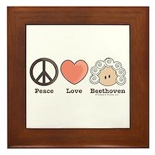 Peace Love Heart Beethoven Music Framed Tile